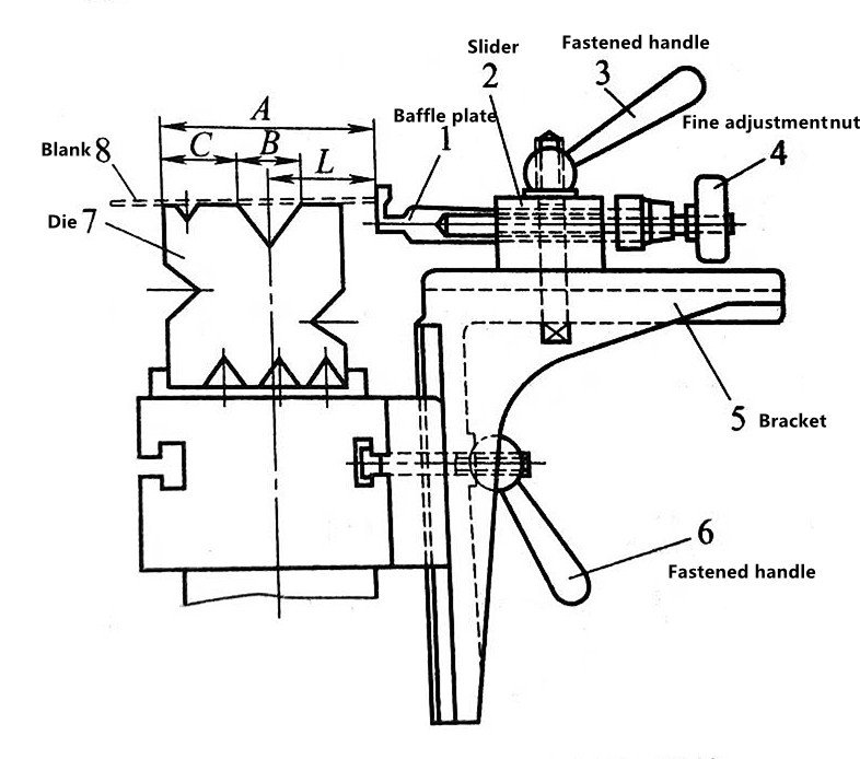 1-4 The retaining structure of the press brake